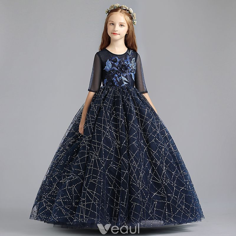 28df97cc386 Chic   Beautiful Navy Blue Flower Girl Dresses 2019 A-Line   Princess Scoop  Neck 1 2 Sleeves Appliques Lace Pearl Glitter Sequins Floor-Length   Long  Ruffle ...