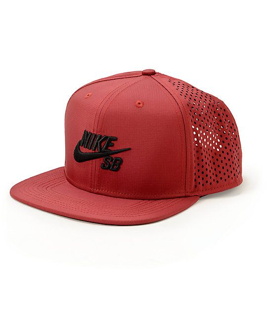 on sale 3c79e 84133 Update your hat game with a stylish burgundy crown with mesh back panels  for breathable comfort and an iconic black Nike SB Swoosh raised embroidery  at the ...