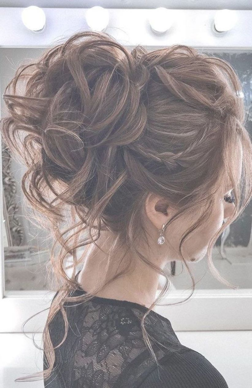 44 Romantic Messy Updo Hairstyles For Medium Length To Long Hair Messy Updo Hairstyle For Elegant Look Hair Styles Medium Length Hair Styles Loose Hairstyles