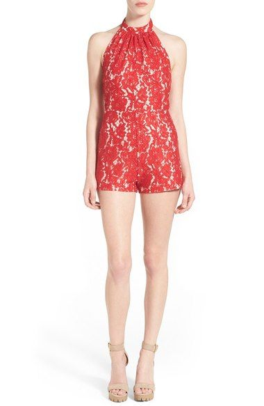 Missguided Lace Halter Romper available at #Nordstrom