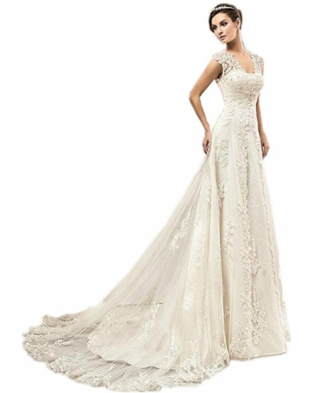Vepycly womenus sexy cap sleeve beaded lace wedding dress for bride