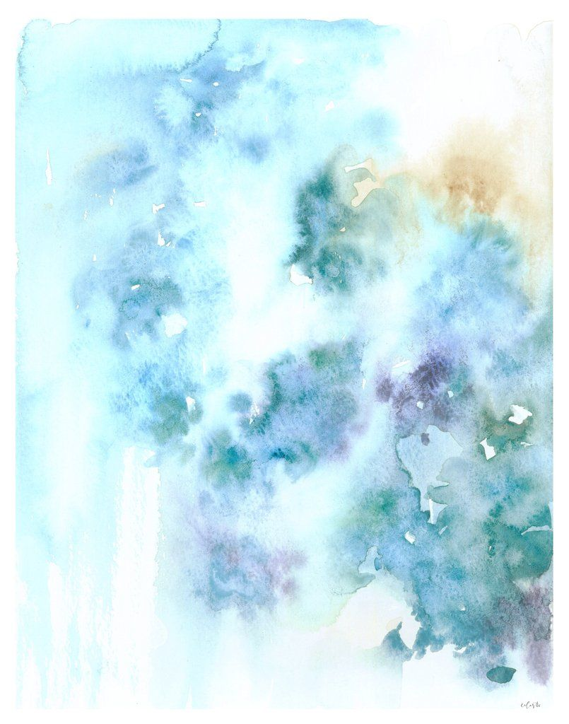 My Original Watercolor Abstract Painting Indigo Printed On