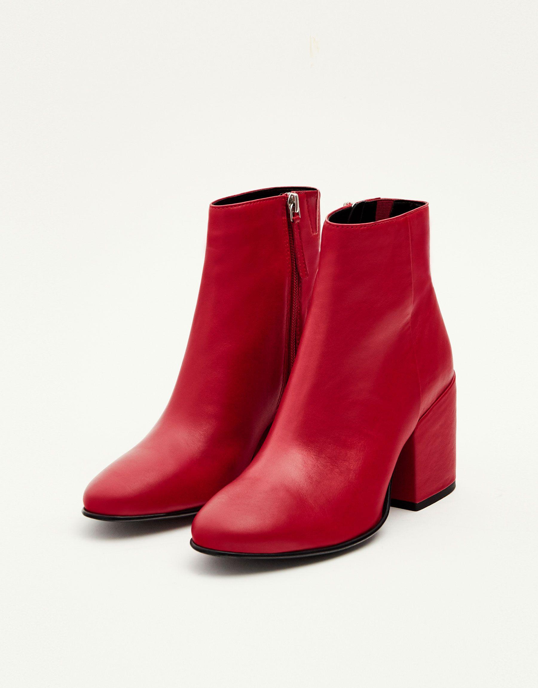 Todo Zapatos amp;bear Ver Piel Pull Tacón Botín Mujer Rojo IXqPxXpzw