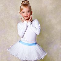 124062b904 Long Sleeve White Ballet Tutus Girls Ballerina Dress Kids Party Costume