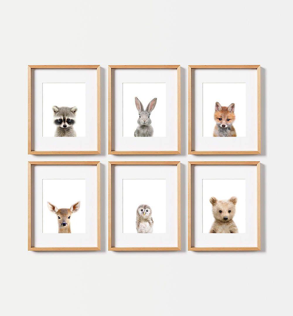Woodland Nursery Animal Prints Printed Shipped Animals Decor Baby
