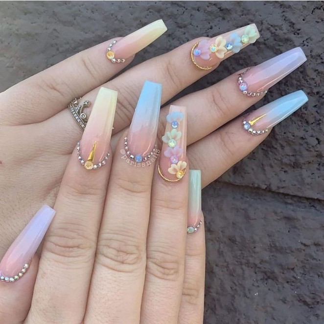 76 Summer Manicure Natural Floral Nails Ideas To Try This Season 48 Producttall Com Swarovski Nails White Acrylic Nails Pretty Acrylic Nails