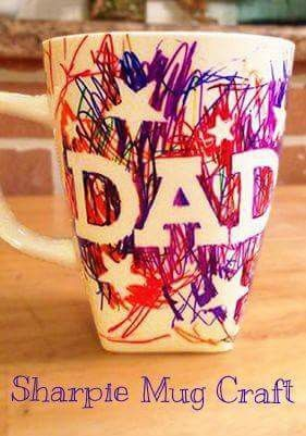 easy father 39 s day sharpie mug kids craft le pere p res. Black Bedroom Furniture Sets. Home Design Ideas