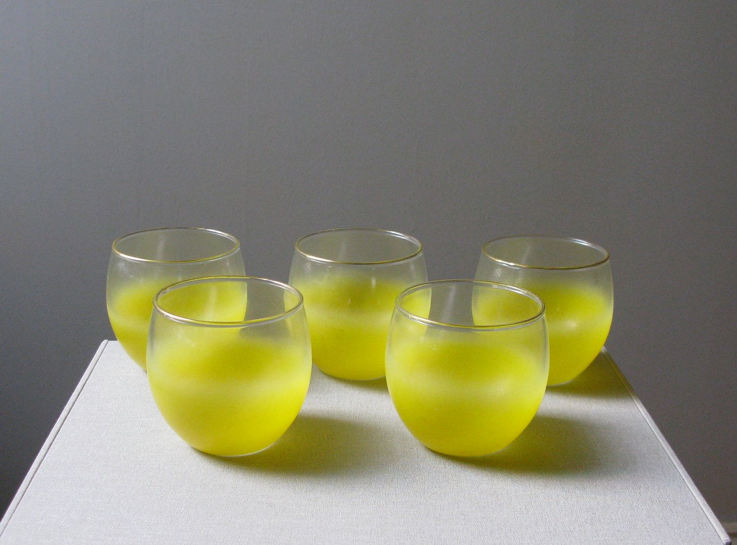 Vintage Set of Yellow Blendo Glasses, Ombre Glassware ...