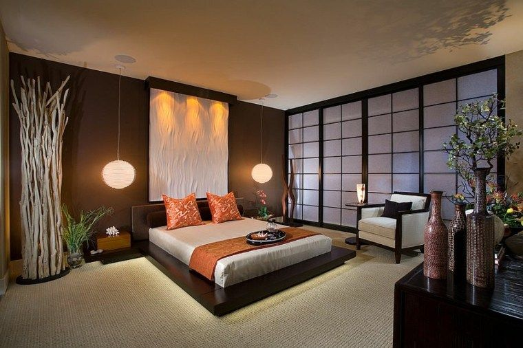 chambre asiatique et zen pour un sommeil facile et serein chambre asiatique suspension plante. Black Bedroom Furniture Sets. Home Design Ideas
