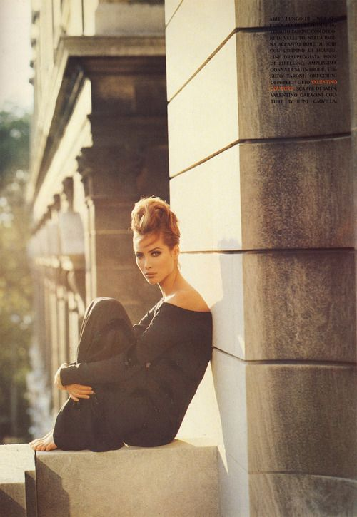 Christy Turlington Wearing Valentino, Photographed by Steven Meisel.