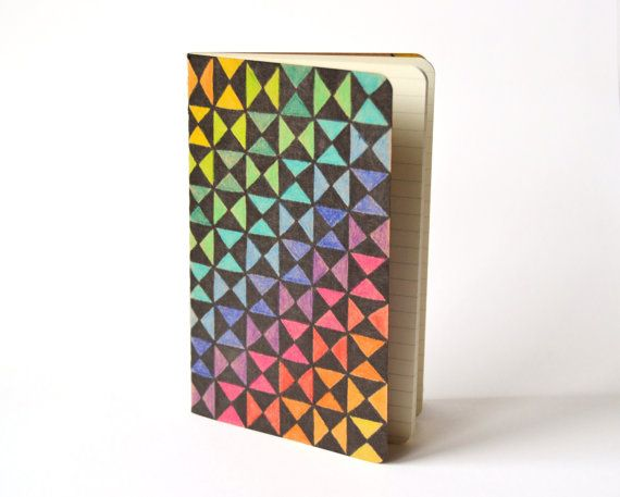 Rainbow Pocket Moleskine Squared Mini Journal hand by VeraPaperLab - triangular graph paper