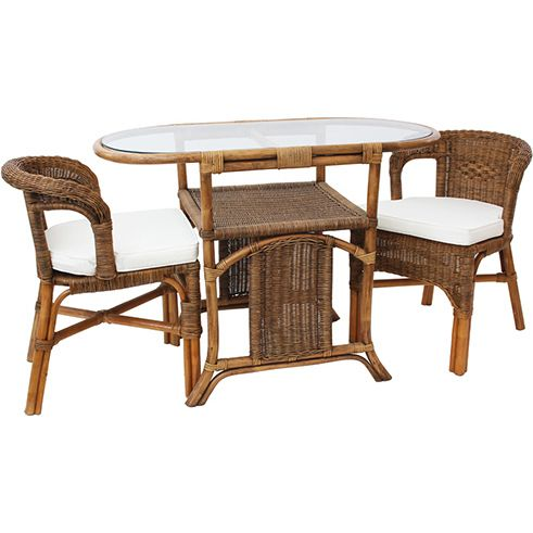 Lido 2 Seat Cane Outdoor Dining Set Antique Brown Buy Rattan Wicker
