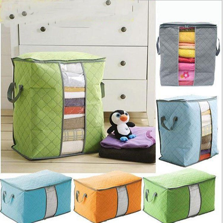 High Capacity Clothes Quilts Storage Bag Folding Organizer Bags Bamboo Portable Storage Container Quilt Storage Storage Bags Organization Bag Storage