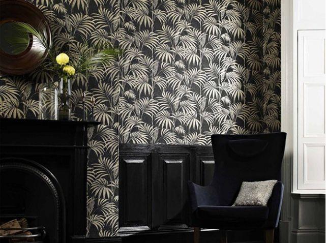 Un Papier Peint Noir Et Blanc Pour Un Mur Elegant Deco Pinterest
