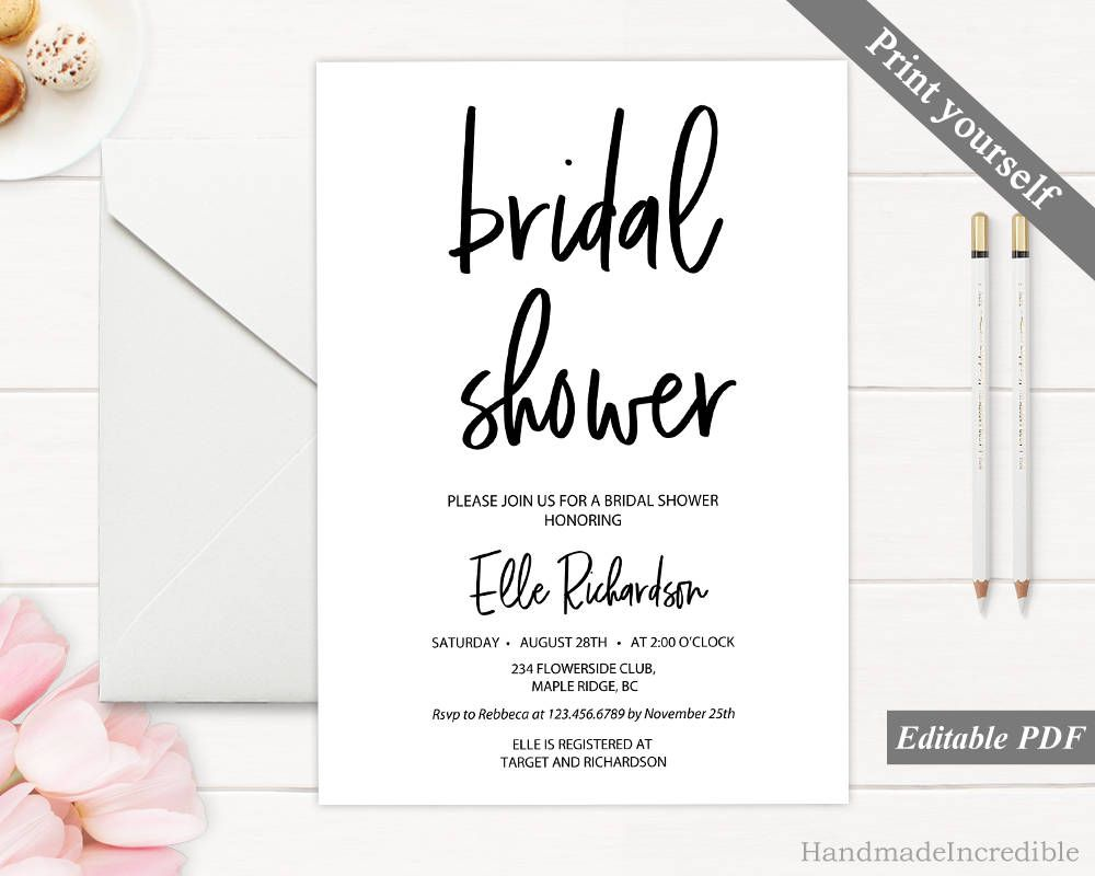 Modern Bridal Shower Invitation Template Printable Rustic Bridal