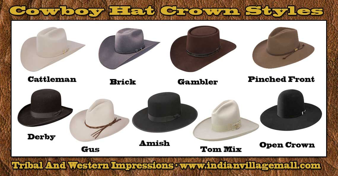 22af0843ef524 Crown Styles Of Cowboy Hats From tribal And Western Impressions -  www.indianvilalgemall.com