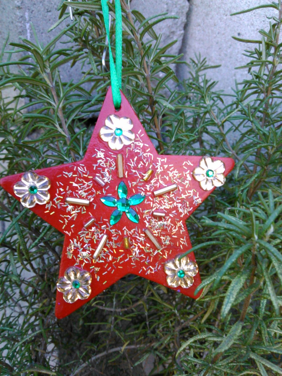 Hand made wooden christmas ornament red christmas star by