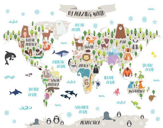 Kid World Map Poster.Nursery Printable Animal World Map Kids World Map Poster Nursery