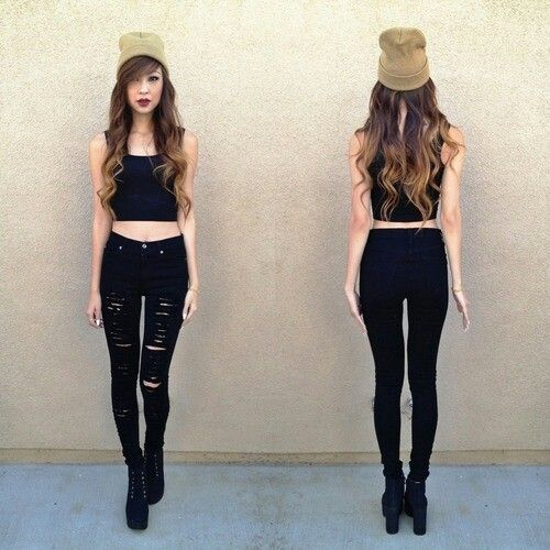 9e3faf3fd90 Love this all black outfit with ripped jeans and crop top | I need a ...