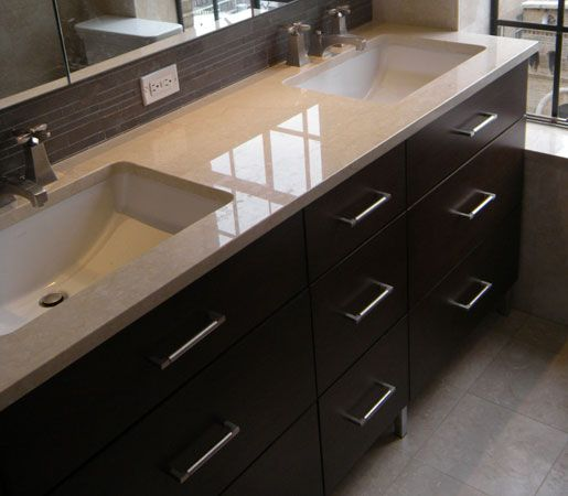 double sink vanity  Google Search Like the large sinks molded into the top. Easy to clean