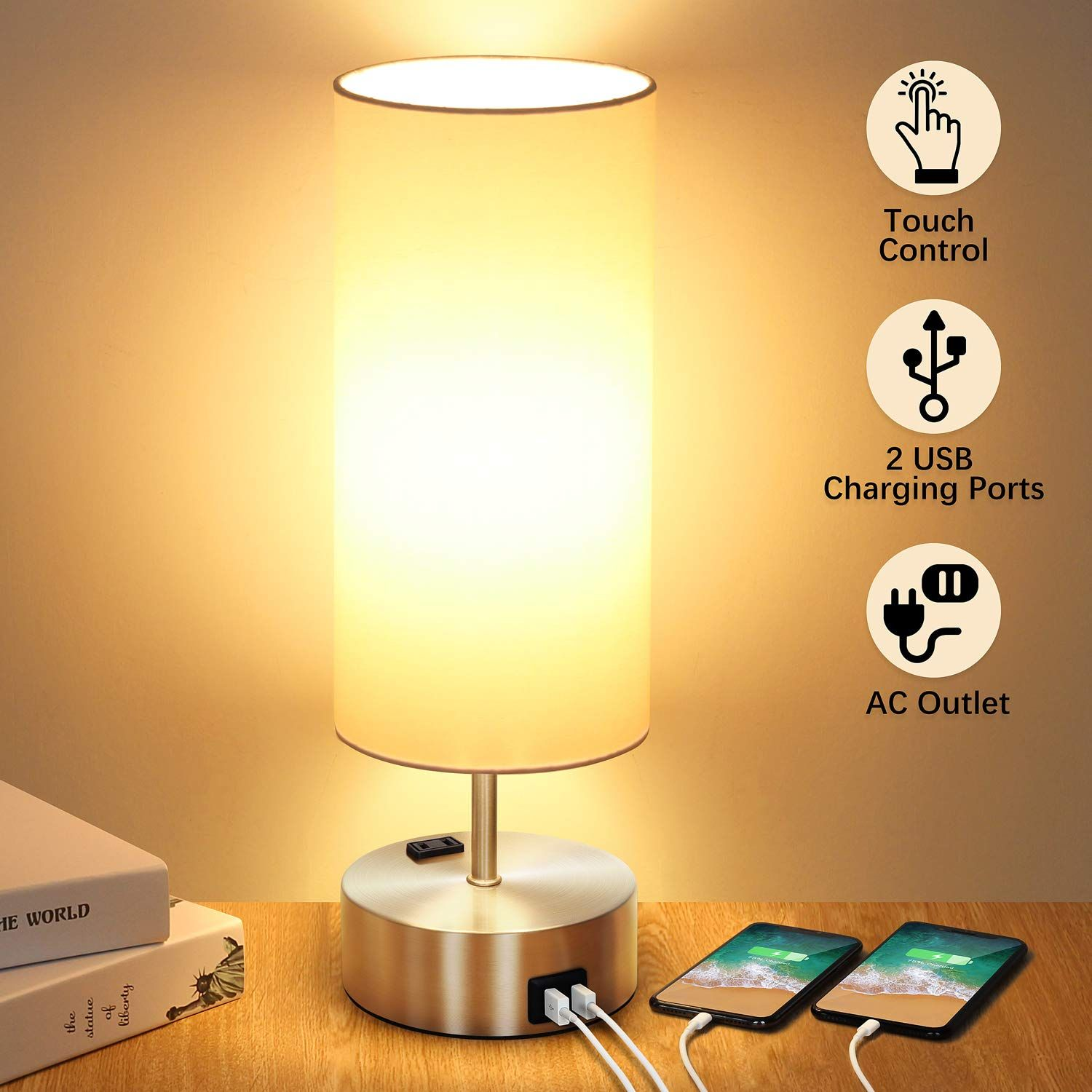 Touch Control Table Lamp With 2 Bedside Lamp Modern Touch Lamp Dimmable Lamp