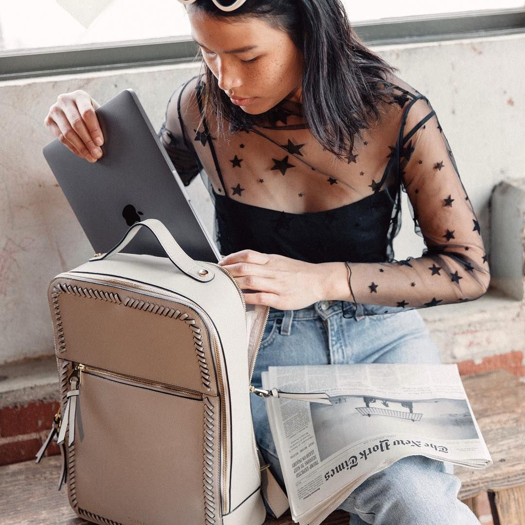 """de6edfb58 Ready for the week with our Kaya laptop backpack ✨ Fits up to a 15"""" laptop!  💻 #calpak #calpaktravel"""
