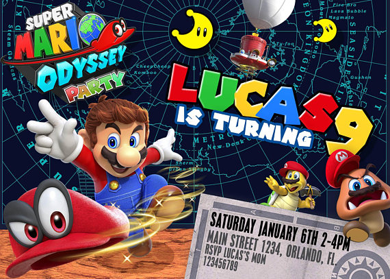 Mario Odyssey party invitation Birthday party Super Mario