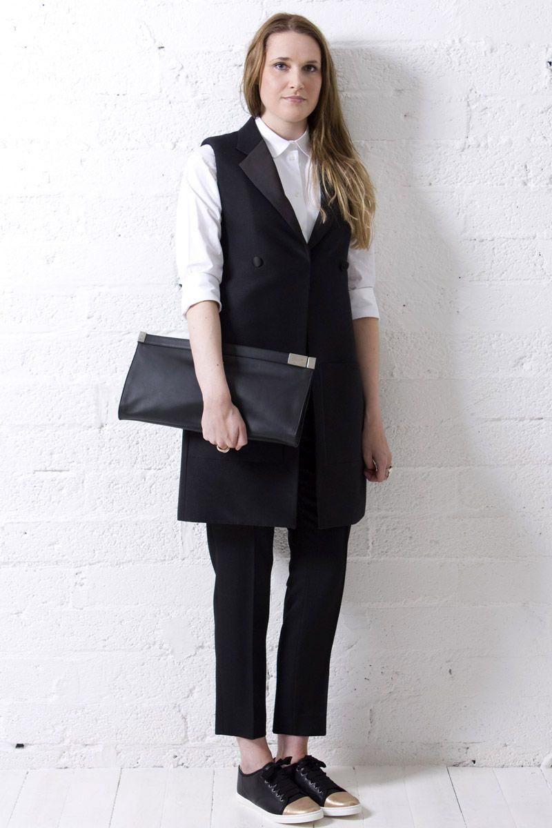 Celine waistcoat, shirt and tuxedo trouser, Maison Martin Margiela Zip Lock Clutch and Lanvin gold/black sneakers.   https://www.envoyofbelfast.com/