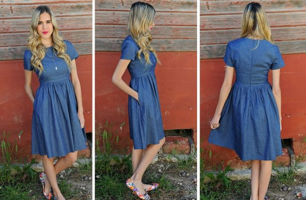 Chambray Dresses are always in style! They look great all year long and are so easy to style! Love the length and fit of this one! Only $26.99!