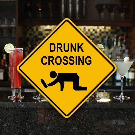 DRUNK CROSSING SIGN - Aluminum Pub Plaque - Bar Party Gift - 21st Birthday Gag - Fun Dorm Room Decor #21stbirthdaydecorations