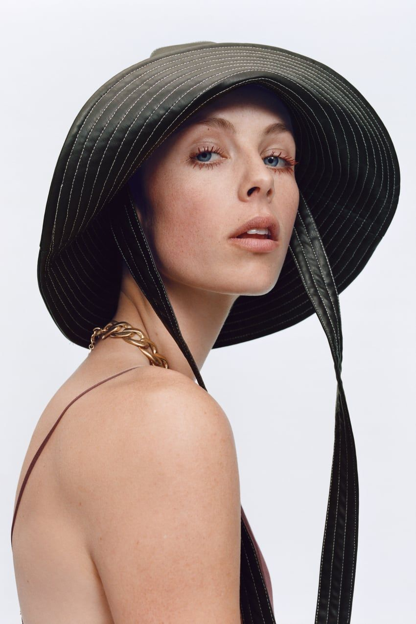 Faux Leather Bucket Hat Trf Zara Finland Leather Bucket Hat Rain Hat Outfits With Hats