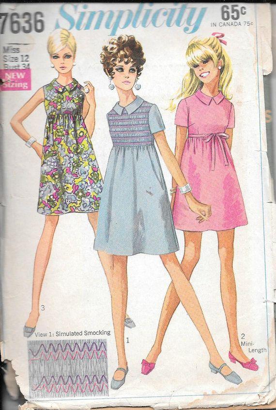 Simplicity 7637 Bust 30.5 1968 | 60\'s patterns | Pinterest ...