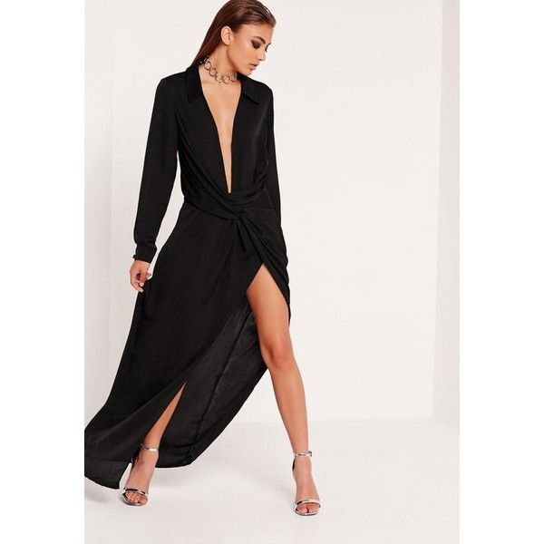 Missguided Wrap Front Shirt Maxi Dress ($108) ❤ liked on Polyvore featuring dresses, black, long sleeve party dresses, wrap front dress, wrap maxi dress, long sleeve maxi dress and sexy night out dresses
