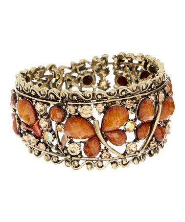 Look at this #zulilyfind! Gold & Brown Butterfly Stretch Bracelet #zulilyfinds
