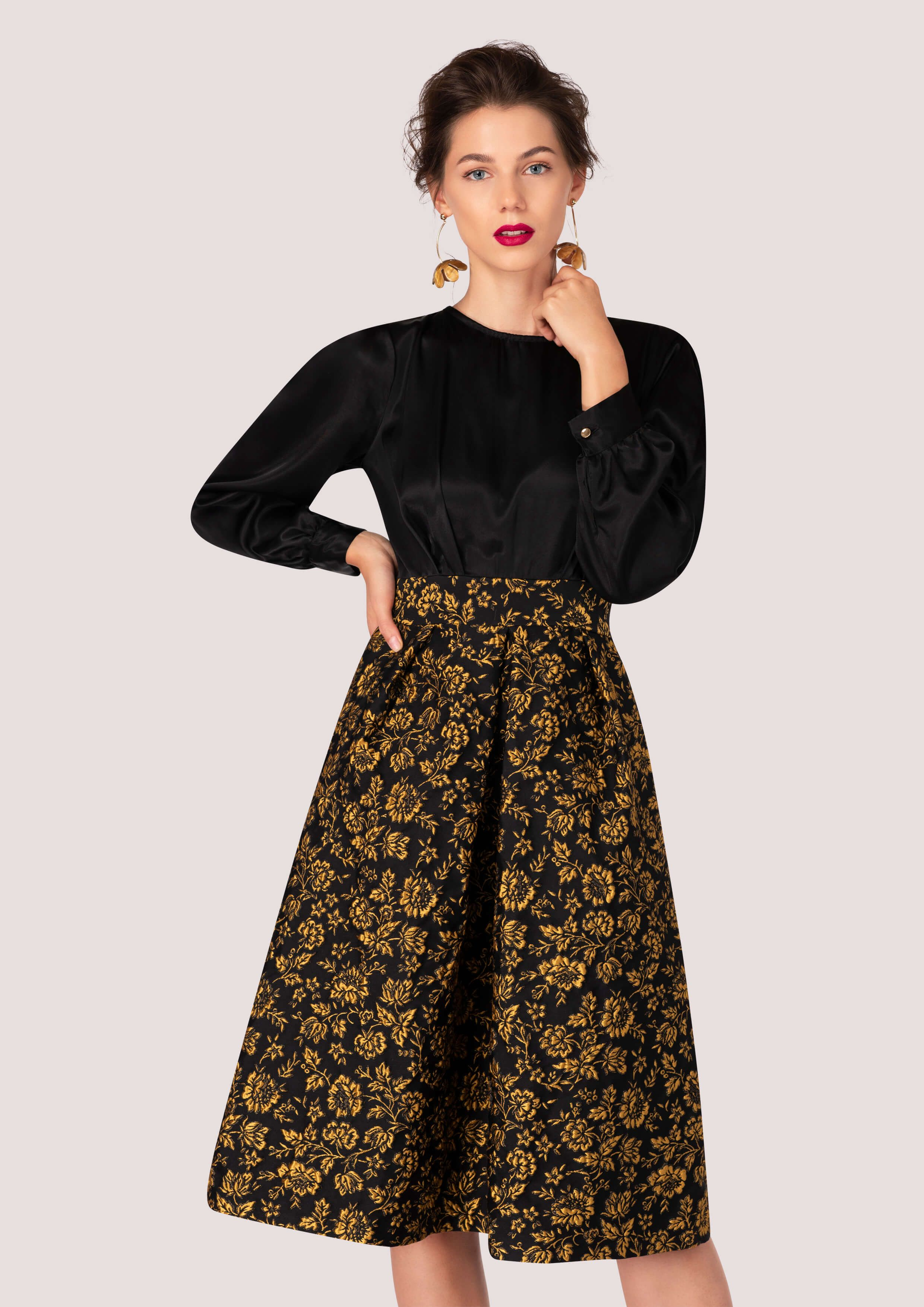 2921405b9cc5 Closet GOLD 2-in-1 Dress With Floral Jacquard Skirt | BOHEMIAN ...