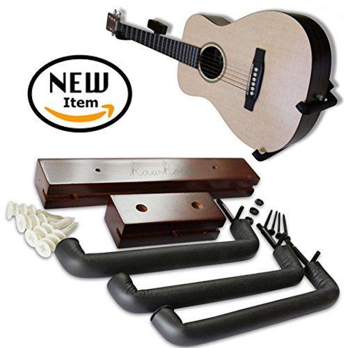 Angled Guitar Hanger Tilt And Display Your Guitar Ukulele Bass Electric Guitar Banjo At A Slanted Angle Sideways Hang For Ea Guitar Hanger Ukulele Dark Stains