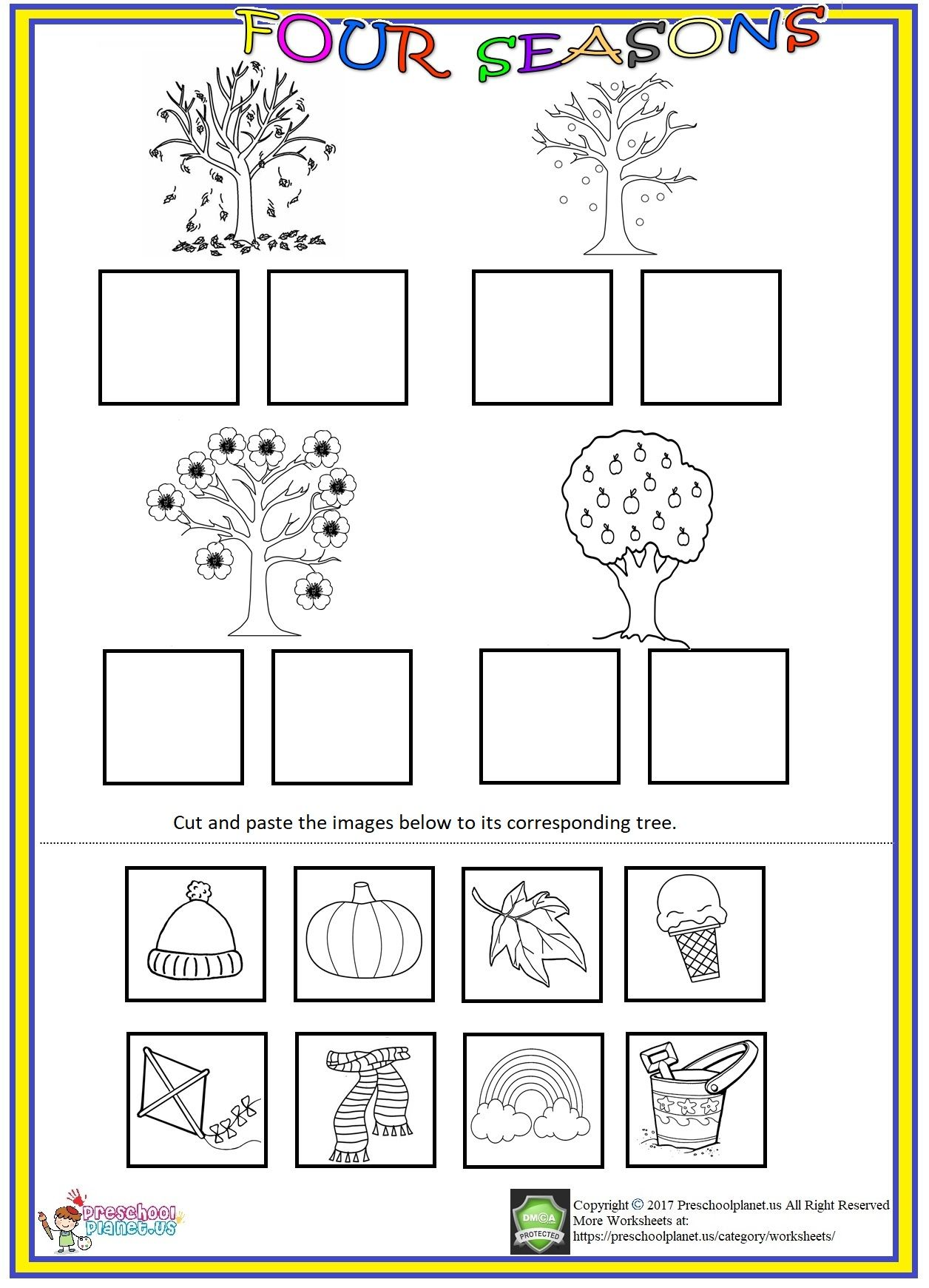 four seasons cut and paste worksheet worksheet for kids seasons kindergarten seasons. Black Bedroom Furniture Sets. Home Design Ideas