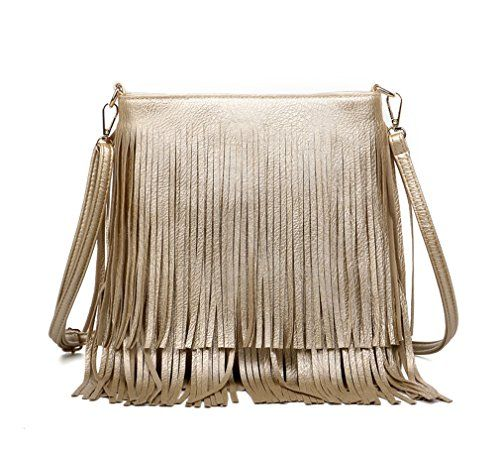 bb2221ea45d Hoxis New Frontier Cool Fringe Shiny Faux Leather Hobo Cross Body Shoulder  Bag Summer Tassel Womens Purse Gold -- To view further for this item, ...