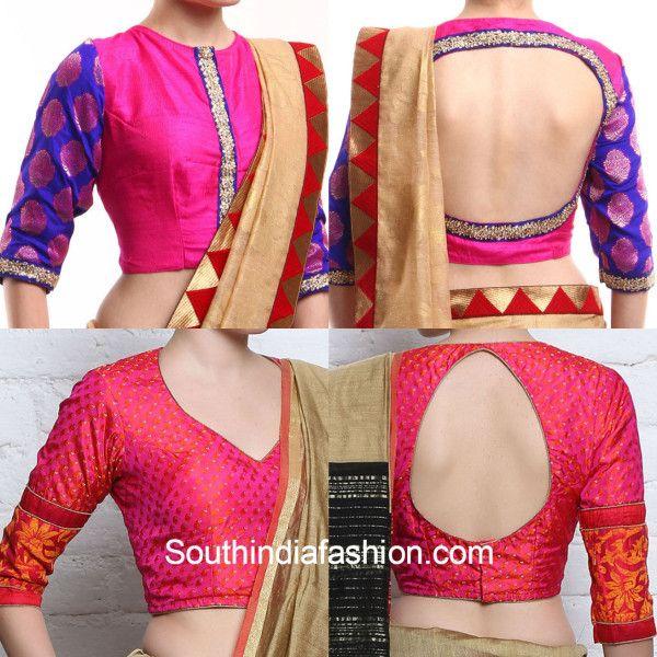 c5e73360a460f7 Latest Brocade Blouse Designs for Silk Sarees | Blouse | Blouse ...