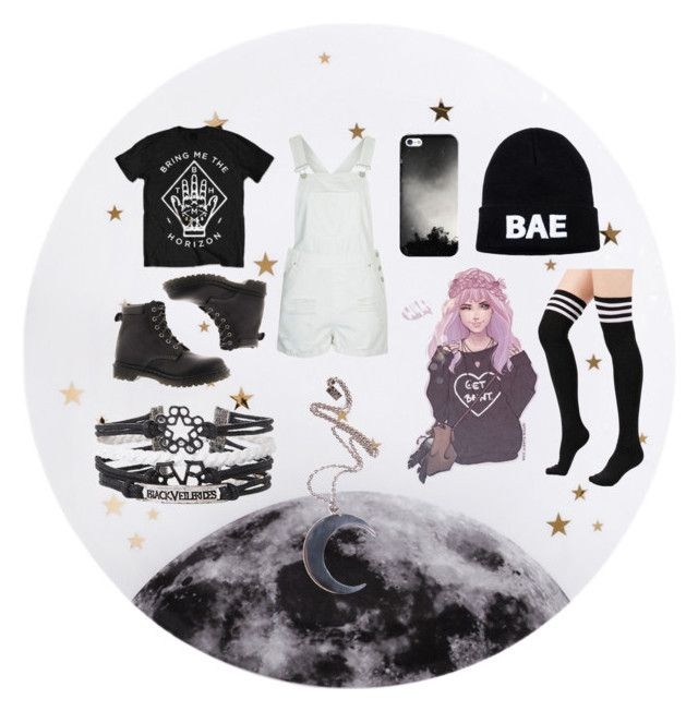 """Black and White"" by yourstrulymayaye ❤ liked on Polyvore featuring Lollipop, Topshop, Casetify, Dr. Martens, Domo Beads and Kill Star"