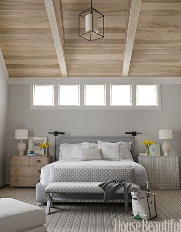 High ceiling in the bedroom. Design: Ann Wolf. housebeautiful.com. #bedroom #gray #neutral #high_ceiling