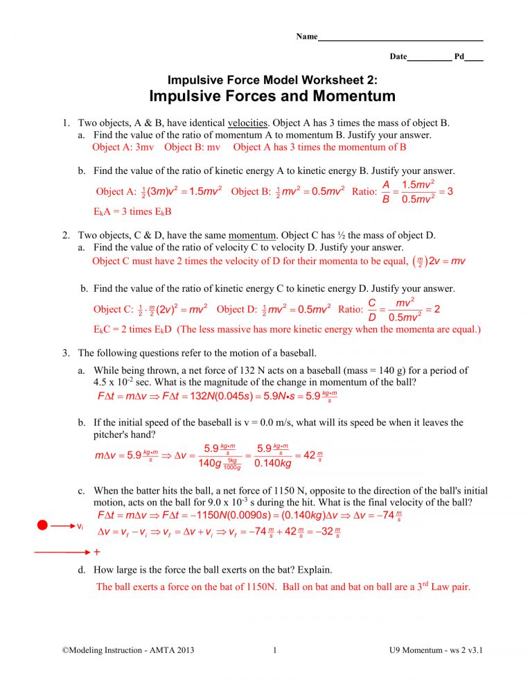 12 Momentum Worksheet Answers Physical Science Science With