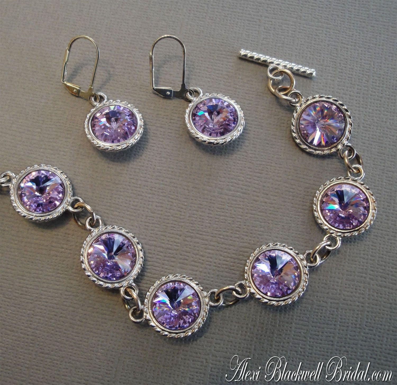 Bridesmaid Bracelet Set with Earrings Swarovski Lilac ...