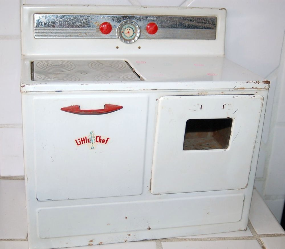 Vintage Tin LITTLE CHEF\'S Electric Mini Oven - Kid\'s Toy   Vintage ...