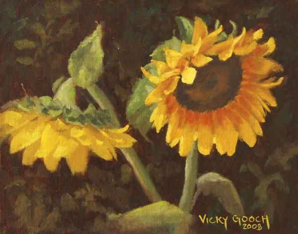 Two Sunflowers by Vicky Gooch   Sunflower painting ...