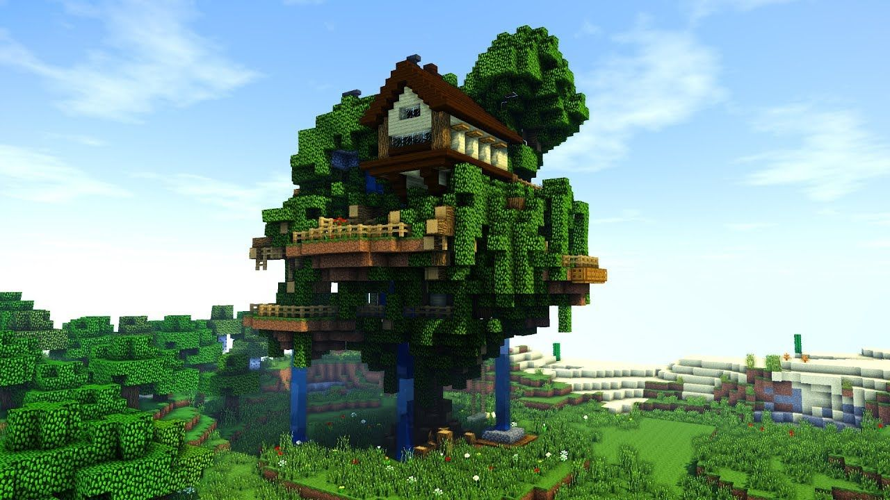 Minecraft How To Build A Tree Village Big Treehouse Tutorial