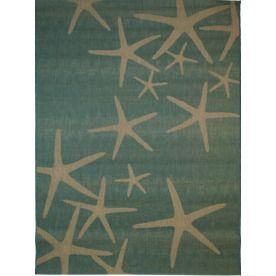 Balta Blue Star Fish Rectangular Aqua Nature Indoor/Outdoor Woven Area Rug  (Common: