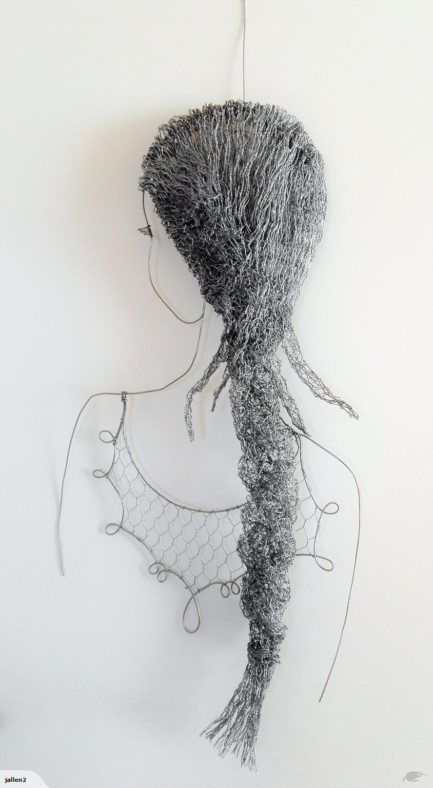 Chicken wire sculpture - LADY WITH PLAIT FROM BEHIND - new listing ...