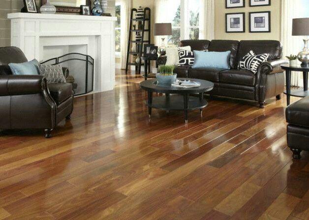 Medium Wood Floor Dark Espresso Furniture Cream Walls Engineered