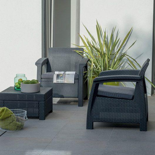 Salon de jardin en résine Balcony Corfu NATERIAL, gris ...